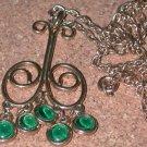 1960's Groovy Green Rhinestone Dangle Necklace Pendant Vintage
