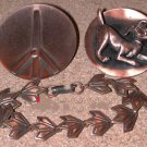 Vintage Copper Jewelry Peace Sign Pin, Dog brooch, Bracelet LOT