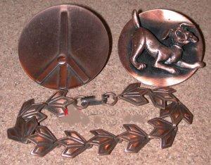 Vintage Copper Jewelry Peace Sign Pin, Dog brooch, Bracelet LOT