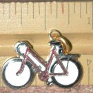 Bike Bicycle CHARM gold-tone Hard Enamel Vintage FREE SHIPPING