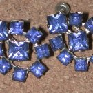 VINTAGE Blue Rhinestone Earrings Silver-tone screwback
