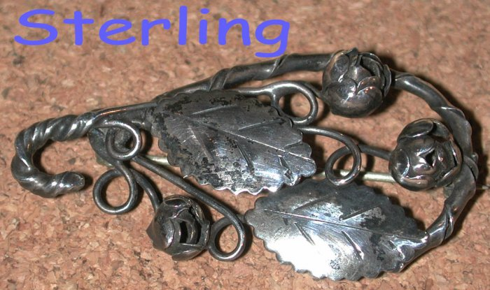 Sterling Floral Flower Vintage Pin brooch handmade Hobe style