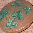 Vintage Irish clover leaves Pin Carved Wood shamrocks