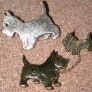 metal Scottie Dog Pin LOT brooch vintage mom pup & Clara