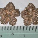 signed Napier gold-tone flower Clip on Earrings Vintage