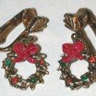 Christmas Rhinestone Wreath Clip on Earrings Vintage