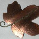 Copper Leaf Pin vintage marked/signed HMK CDS