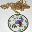 Vintage Enamel bird Hex Sign Pendant/Charm/Necklace gold-tone