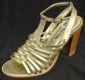 NINA SHOES: Strappy GOLD Heels Sandals Women's 8 1/2 8.5
