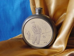 VINTAGE FINE BRITISH PEWTER Liquor Flask HALLMARKED