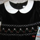 NWT Charter Club Smocked Black Velvet Lined Dress Sz5