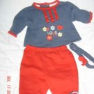 CUTE Okie Dokie 0-3M Infant Girls LOVE Outift EUC