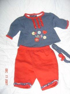 CUTE Okie Dokie 0-3M Infant Girls LOVE Outift EUC