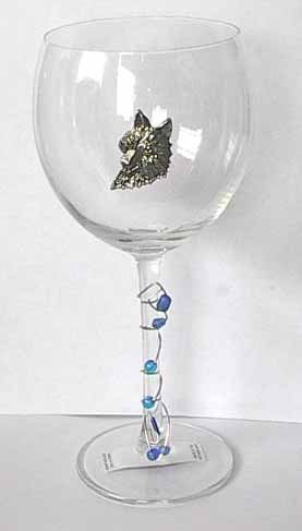 Pewter Wolf  Wine Glass Free Shipping