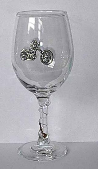 Pewter Motorcycle    Wine Glass Free Shipping