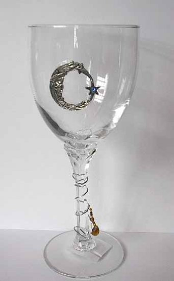 Pewter Moon and Star  Wine Glasses  Free Shipping
