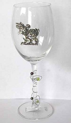 Pewter Fairy and Rose Wine Glass Free Shipping