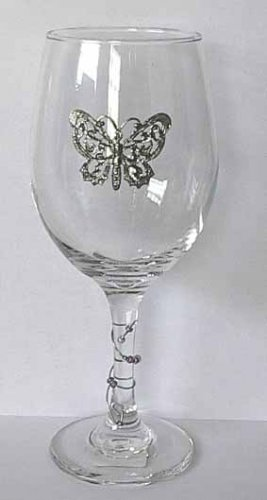 Pewter Butterfly  Wine Glass Free Shipping