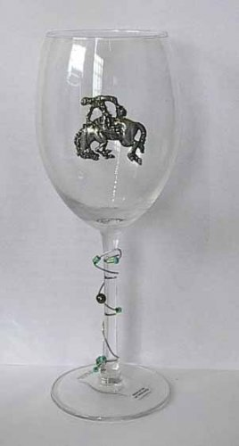 Pewter Bronco Rider Wine Glasses  Free Shipping