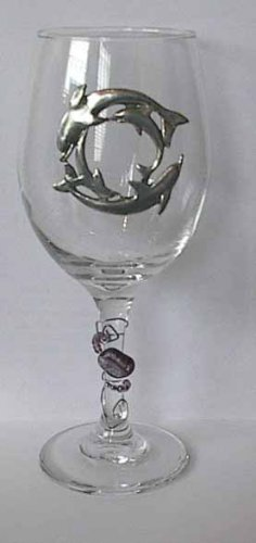 Pewter Dolphin  Wine Glass Free Shipping
