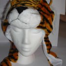 Plush Orange Tiger Faux Fake Fur Animal Pompom Hat