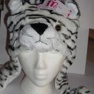 Plush White Tiger Faux Fake Fur Animal Pompom Hat