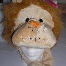 Plush Lion Faux Fake Fur Animal Pompom Hat