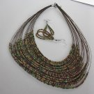 Brown Green Seedbead  NECKLACE SET