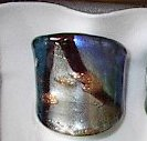 Blue Silver  MURANO GLASS RING Size 7.5