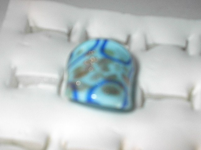 Teal  Blue Gold MURANO GLASS RING Size 9