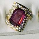 Amethyst With CZ Ring 18Gold Plated Size 5 Must See