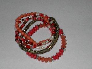 Pink  Color  5 Strand Stretch  Bracelet