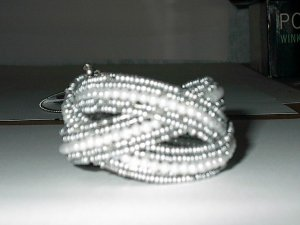 Gray Seedbead And White Pearl Bead Stretch  Bracelet