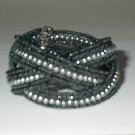 Black Seedbead And Gray Pearl Bead Stretch  Bracelet