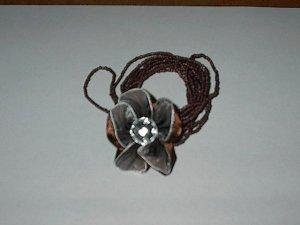 Removeable Flower Brown Seedbead Stretch Bracelet