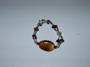 Glass Bead Stretch Bracelet Main Color Brown