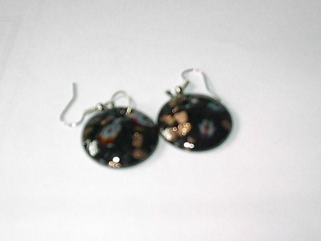Black Round Lampwork Glass EARRINGS