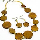 Brown Shell 18 Inch  Necklace Set With  Earrings