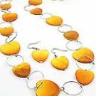 Orange Heart Shell  36 Inch Necklace Set With Earrings