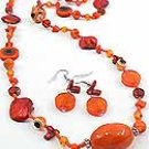 Orange Evil Eye Glass34 Inch Necklace Set With Earrings