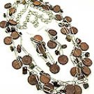 Brown Woodchip 38 Inch Necklace Set With Earrings