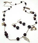 Angel Charm 36 Inch Necklace Set With Earrings