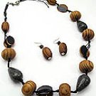Brown Wood 34 Inch Necklace Set With Earrings