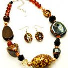 Brown Stone 16 Inch Necklace Set With Earrings