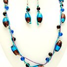 Turq Glass 36 Inch Necklace Set With Earrings