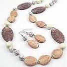 Natural Stone  34 Inch Necklace Set With Earrings