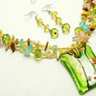 Green Glass  16 Inch Necklace Set With Earrings