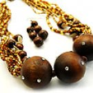 Brown Chunky 16 Inch Necklace Set With Earrings