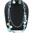 Turq Seashell Two strand 26 Inch NECKLACE SET