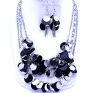 Black Silver Color Multi Strand NECKLACE SET